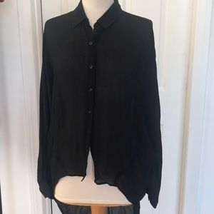 Eileen Fisher Project Black Hi Low Silk Blouse XS